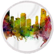Miami Florida Skyline Panoramic Round Beach Towel
