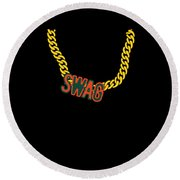 Miami Swag Gold Chain Necklace Round Beach Towel