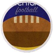 Michigan Football Minimalist Retro Sports Poster Series 001 Round Beach Towel