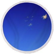 Micro Clouds And Rays  Round Beach Towel