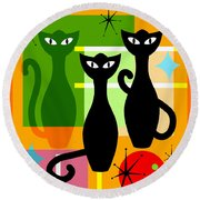 Mid Century Modern Abstract Mcm Bowling Alley Cats 20190113 Square Round Beach Towel