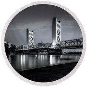 Midnight Hour- Round Beach Towel by JD Mims