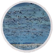 Migration Of The Snow Geese Round Beach Towel