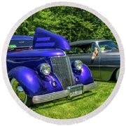 Mild Customs 1936 Ford And 1953 Chevy Round Beach Towel