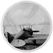 Military Biplane - Marine Flying Field - 1918 Round Beach Towel