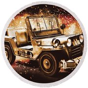 Military Machine Round Beach Towel