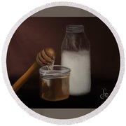 Milk And Honey  Round Beach Towel