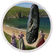 Milkmaids At The Monolith Round Beach Towel