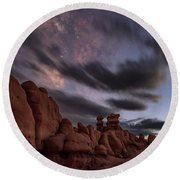 Milky Way Rises Over Goblins Round Beach Towel