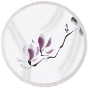 Minimalistic Elegant Magnolia Branch Japanese Zen Illustration O Round Beach Towel