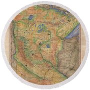 Minnesota Historic Wagon Roads Hand Painted Round Beach Towel
