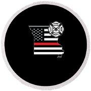 Missouri Firefighter Shield Thin Red Line Flag Round Beach Towel