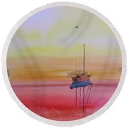 Misty Morning Boats Round Beach Towel