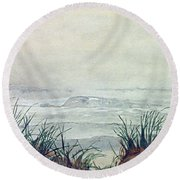 Misty Morning On Lawrencetown Beach Round Beach Towel