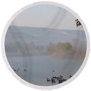 Misty River With Geese And Hills Round Beach Towel