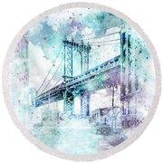 Modern Art Nyc Manhattan Bridge - Jazzy Watercolor Round Beach Towel