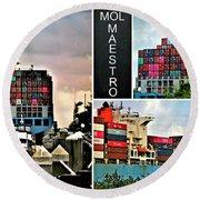 Mol Maestro Collage Round Beach Towel