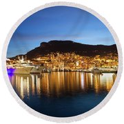 Monaco At Twilight Round Beach Towel