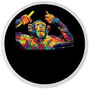 Monkey Drummer Gift For Musicians Color Design Round Beach Towel