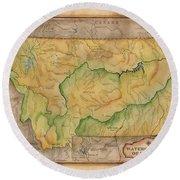 Montana Custom Map Art Rivers Map Hand Painted Round Beach Towel