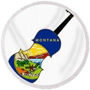 Montana State Fiddle Round Beach Towel