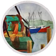 Montauk Dock W Round Beach Towel