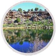 Montezuma's Well Az Water Blue Sky Reflections Stone Wall 3192019 5253. Round Beach Towel