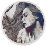 Monument - Red 'n Blue - Sleeping Beauty, Woman With Skyline Tattoo And Bird Round Beach Towel