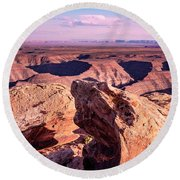 Monument Valley At A Distance Round Beach Towel