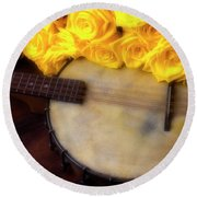 Moody Banjo And Yellow Roses Round Beach Towel