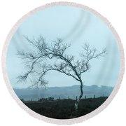 Moody Winter Landscape Image Of Skeletal Trees In Peak District  Round Beach Towel