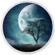 Moon Blues Round Beach Towel