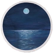 Moon Glow On The River Round Beach Towel