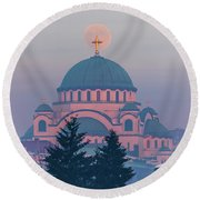 Moon In The Cross Of The Magnificent St. Sava Temple In Belgrade Round Beach Towel