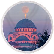 Moon On Top Of The Cross Of The Magnificent St. Sava Temple In Belgrade Round Beach Towel