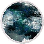 Moonlight Ocean- Abstract Art By Linda Woods Round Beach Towel
