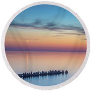 Moonset On Lake Superior Round Beach Towel