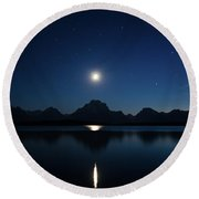 Moonset Reflection Round Beach Towel