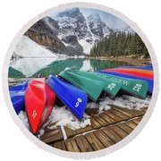 Moraine Lake Canoes Round Beach Towel