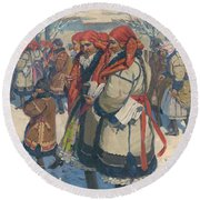 Moravian Slovaks In The Winter Round Beach Towel