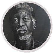 Morgan Freeman Round Beach Towel by Richard Le Page
