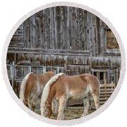 Horses By The Barn Sugarbush Farm Round Beach Towel