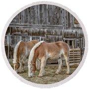 Morgan Horses By The Barn Round Beach Towel