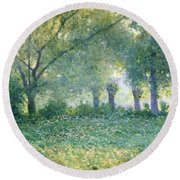 Morning Mist Also Known As Late Spring Round Beach Towel