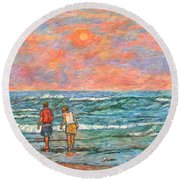Morning Stroll At Isle Of Palms Round Beach Towel