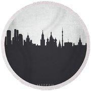Moscow City Skyline Rusmw19 Round Beach Towel
