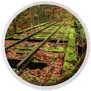 Mossy Train Track In Fall Round Beach Towel
