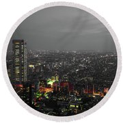 Mostly Black And White Tokyo Skyline At Night With Vibrant Selective Colors Round Beach Towel