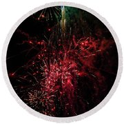 Mostly Red And White Fireworks Round Beach Towel