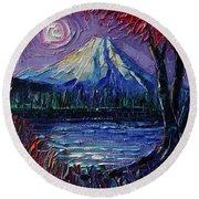 Mount Fuji - Textural Impressionist Palette Knife Impasto Oil Painting Mona Edulesco Round Beach Towel